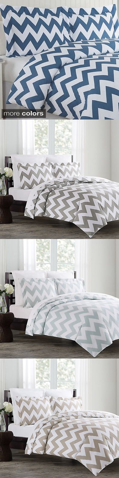 Duvet Covers and Sets 37644: Echelon Home Chevron 3-Piece Cotton Duvet Cover Set -> BUY IT NOW ONLY: $80.99 on eBay!