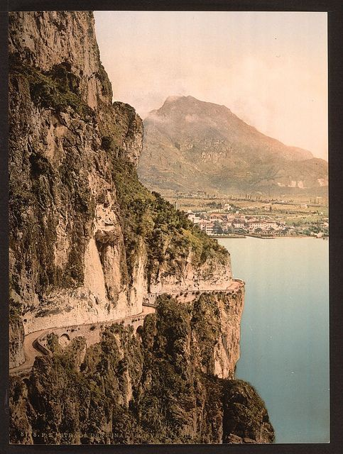 Ponale Road and view of Riva, Lake Garda, Italy