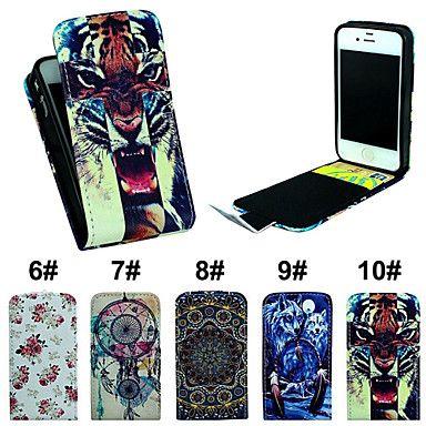 flip-openstellen pu leer telefoon full body case cover met kaartslot voor iPhone 4 / 4s – EUR € 7.59
