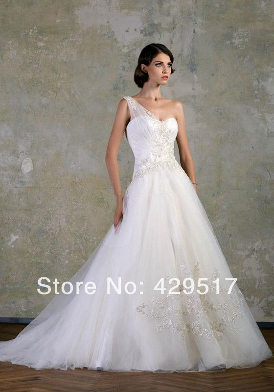 Romantic  One-Shoulder  Ball gown  Corset  vestidos de gala  Brush  Tail  Wedding Dress  For  Pregnant $155.00