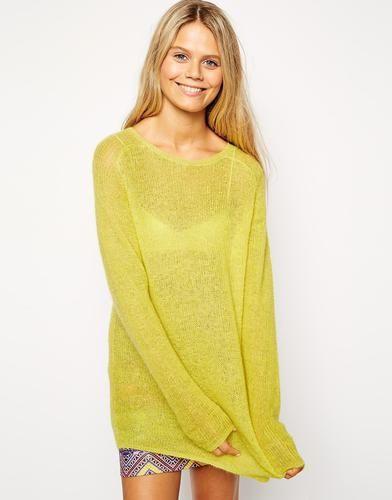 ASOS - Grunge - Pullover mit grobmaschigem Mohair-Strickdesign - Limettengrün 34,99 € #sweater #covetme #asos