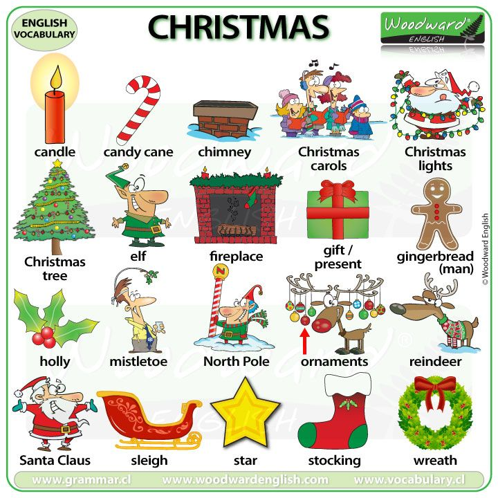 Christmas vocabulary in English - This is non-religious vocabulary for the ESL classroom.