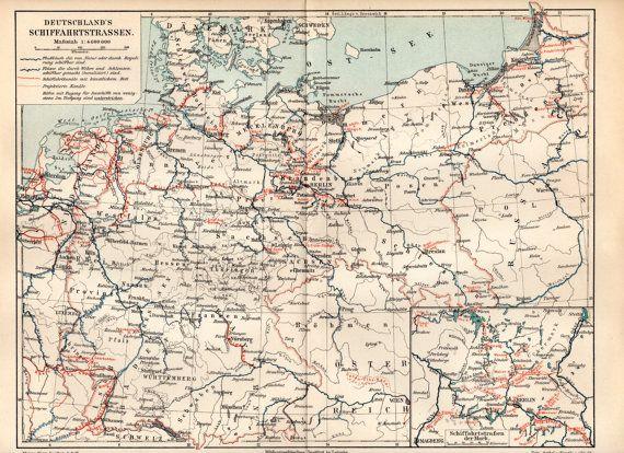 1900 German Waterways Antique Map Deutschland's by Craftissimo