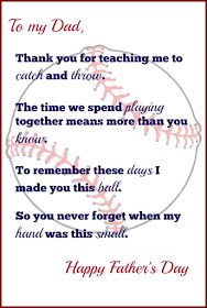 Handprint Baseball Father's Day Gift with Free Printable Poem | Sunny Day Family