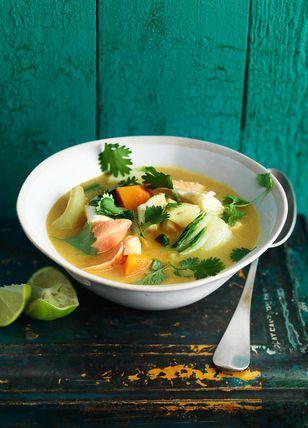thaise vissoep met pompoen, venkel en paksoi