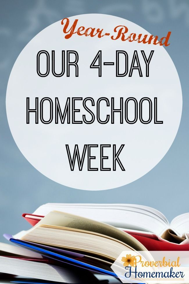 Weekly Routine for 4-day homeschooling week schedule