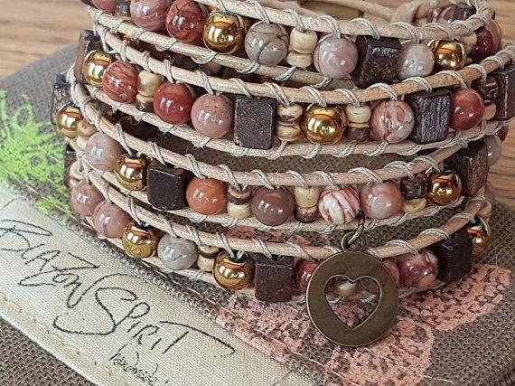 Beaded leather wrap bracelet 4x wrap for 6.5 inch by BlazonSpirit