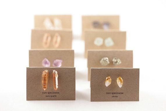 $33.16 Tangerine Aura Quartz Stud Earrings - Rare Specimens