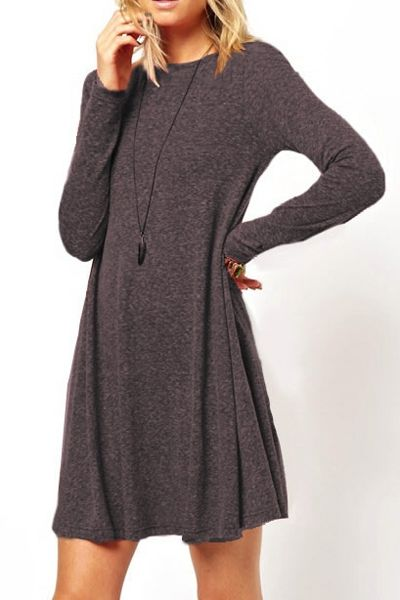 Long Sleeve Solid Color A-Line Dress