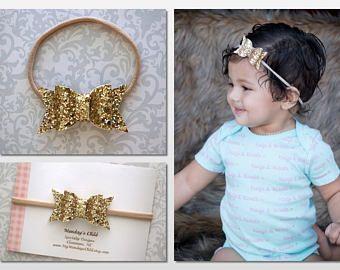 Brillo arco venda, venda del brillo bebé arco, arco de oro brillo, oro bebé, brillo, venda del bebé, arcos venda recién niño
