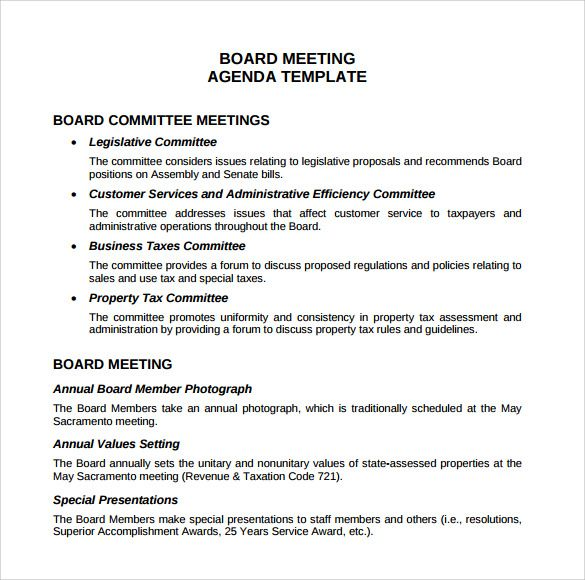 board meeting agenda templates