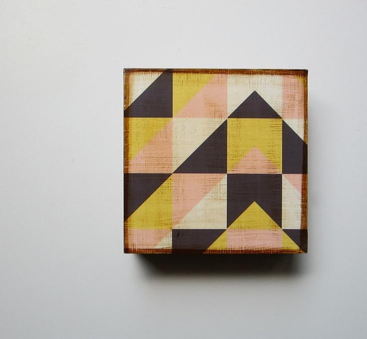 Modern wall decor l art block l geometric mountain modern for Modern house 5x5