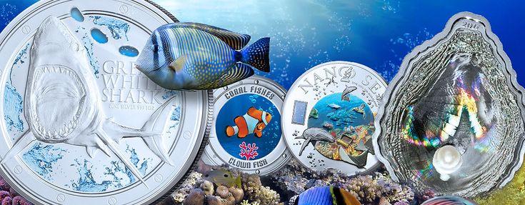 Sammlermünzen mit Meeresmotiven: Fische, Forscher, Muschelmünzen
