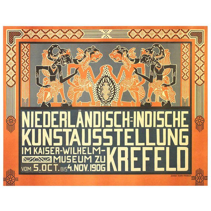 Original Art Nouveau exhibition poster: Dutch Indies (Indonesia) Art Exhibition