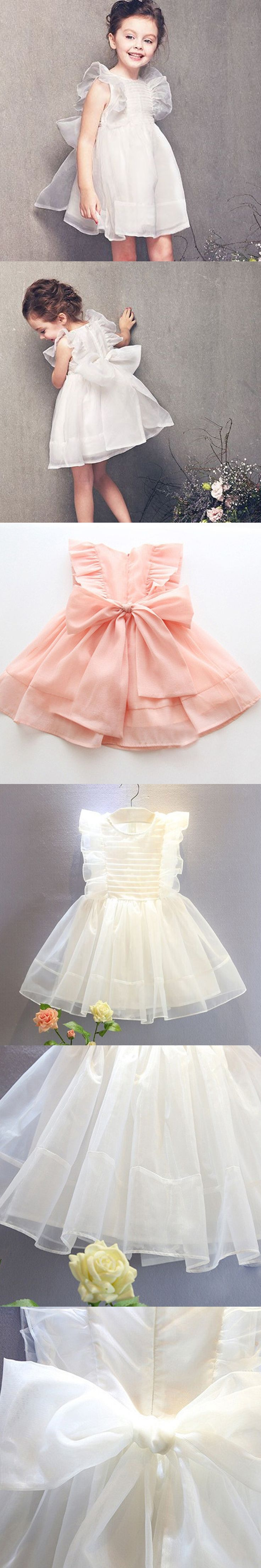 Girls clothes summer dress 2016 brand baby girl clothes white pink Party princess Dress for kids Bow Wedding clothes 2-6 years $15.69
