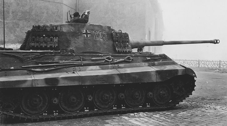 On 12 October 1944 the schwere Panzer-Abteilung 503 was shipped to Hungary to bolster the forces there and to support Szálasi's 'Arrow Cross' movement in their coup against the government which was trying to surrender to Soviet Union. 15 October 1944, King Tiger '233' on duty in the Várhegy (Castle hill) over looking Danube in Budapest.