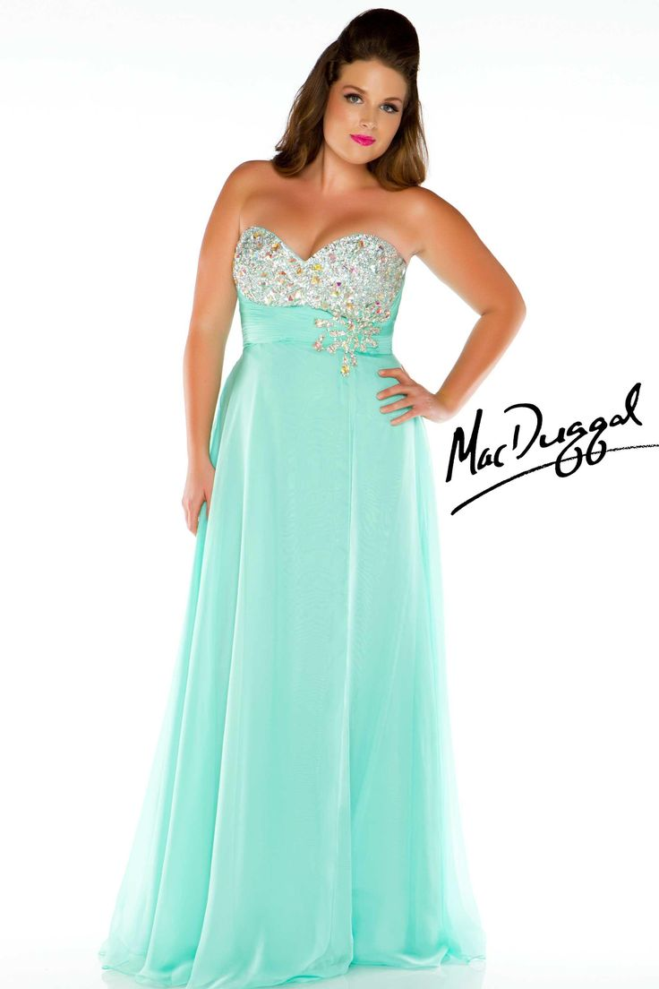 Mint strapless sweetheart plus size prom dress