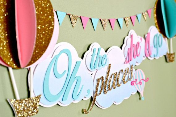 3D Hot Air Balloon Theme with Clouds and Triangle Bunting Flag Personalized Banner on Etsy, $28.00