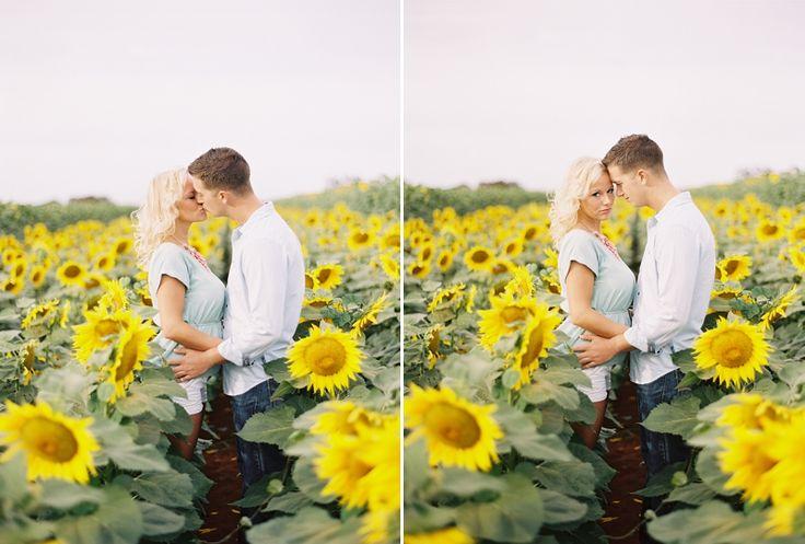 Hawaii sunflower field engagement photos