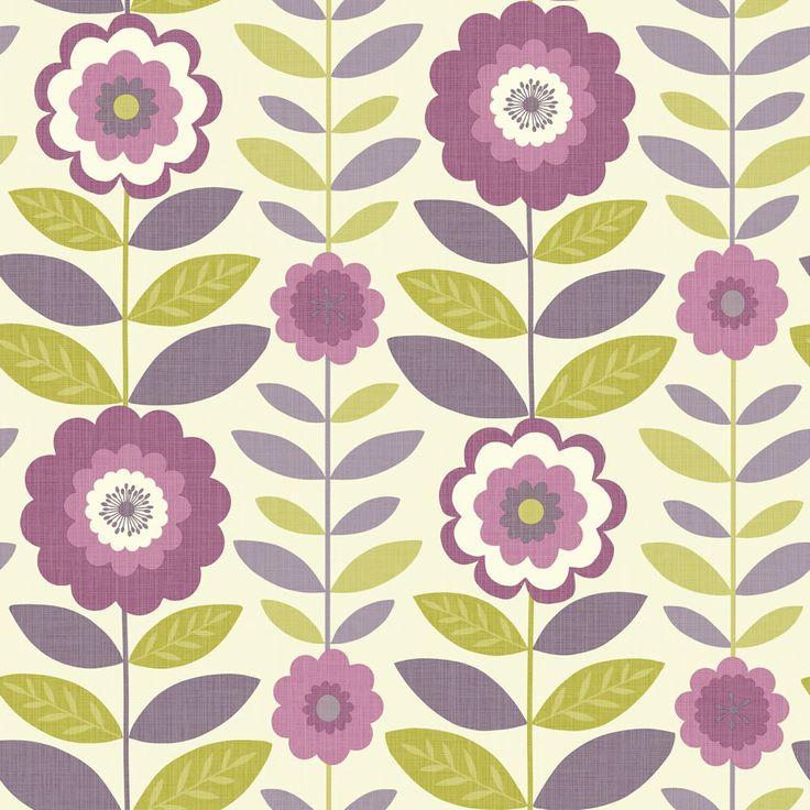 Arthouse Flower Power Plum & Green Wallpaper