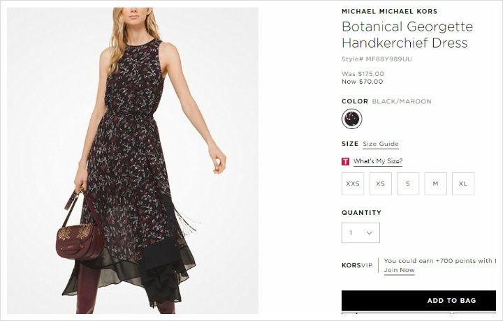 마이클코어스 보타니컬 조젯 핸드커치프 드레스 70불 직구 마이클 코어스 드레스 디자인