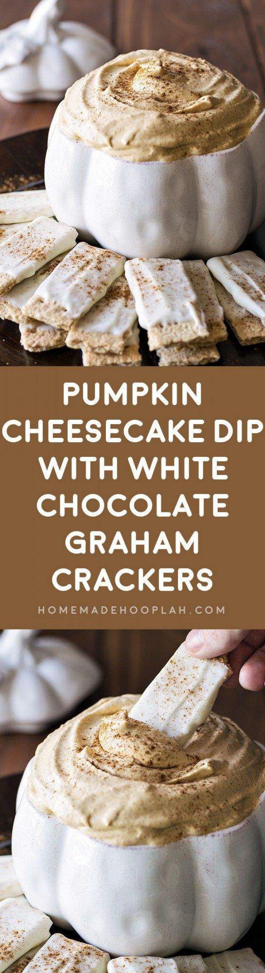 Pumpkin Cheesecake Dip with White Chocolate Graham Crackers! Appease your pumpkin cravings with this delicious pumpkin cheesecake dip, complete with white chocolate covered graham crackers.   HomemadeHooplah.com