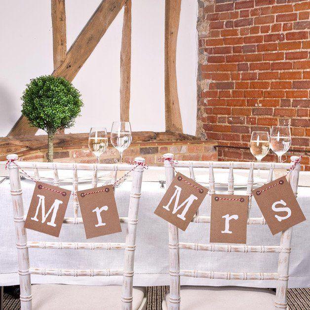 Fresh Hochzeitsgirlanden Stuhl Deko Hochzeit Mr u Mrs Packpapier