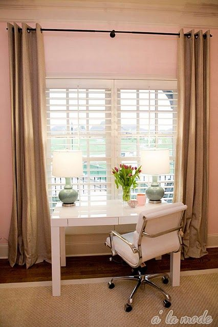 Suzie: A La Mode Maven - Chic pink office with soft pink walls paint color, glossy white West ...