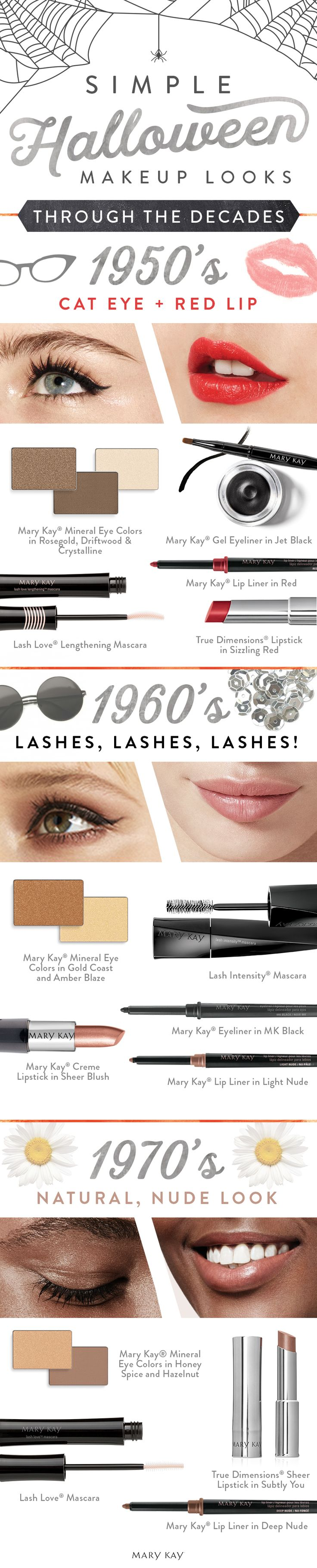 Work-appropriate Halloween makeup looks that take you through the decades! For the 1950s, try a red lip and cat eye. For 1960s, it's all about the lashes. For 1970s, go au natural flower child style with a nude palette! | Mary Kay