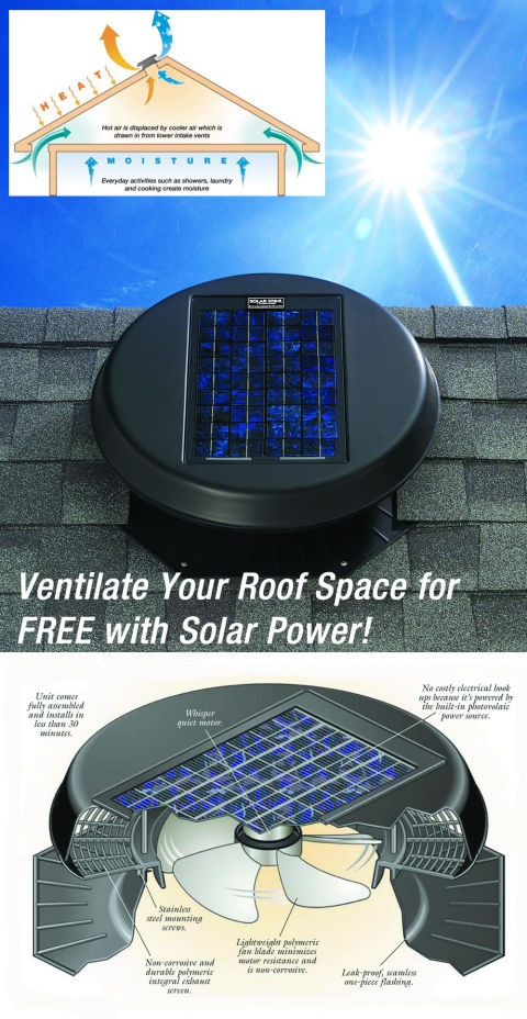 Stop air-con overworking and cool roof space with a Solar Powered Fan. Silent & Free to run! Brilliant!