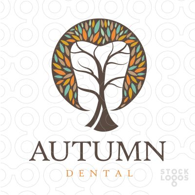Unique and distinctive dental tree logo that incorporates tooth shape with in the white space. This is a modern and fresh design.