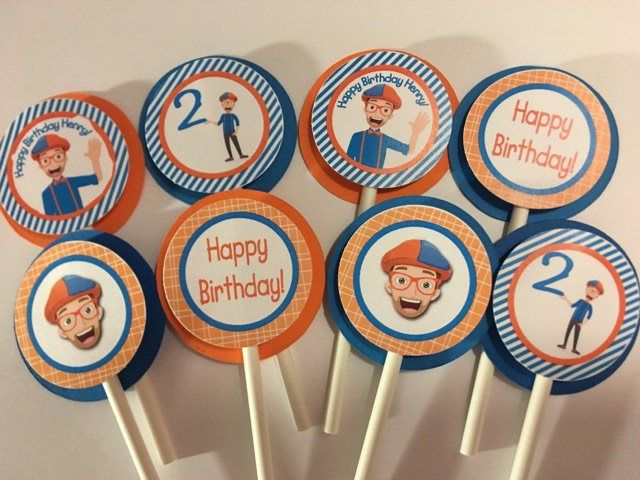 Blippi Cupcake Toppers by CustomParty4U on Etsy | Happy ...