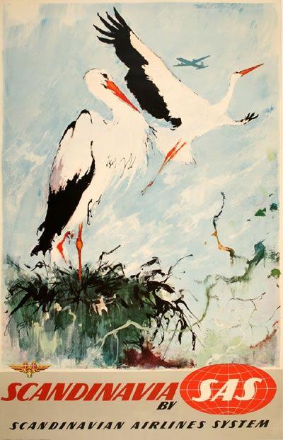 Vintage Travel Poster - Scandinavia - Stork - by Otto Nielsen (SAS).
