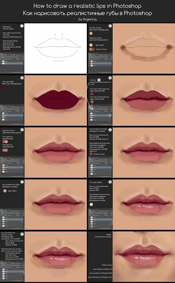 Drawing Lips In Photoshop Seni Digital Cara Menggambar Sketsa