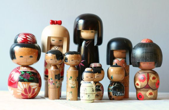 I want shelves filled with kokeshis like these.