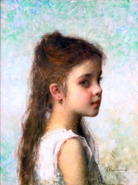 Young Girl Before A Blue Background
