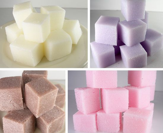 "DIY Sugar Cube Scrub: Previous pinner wrote, ""Easy to make with a few ingredients. These make a wonderful gift in a spa themed basket or give a cellophane bag full tied w a pretty ribbon as a Valentine treat for your girlfriends. Can even use a heart mold."""