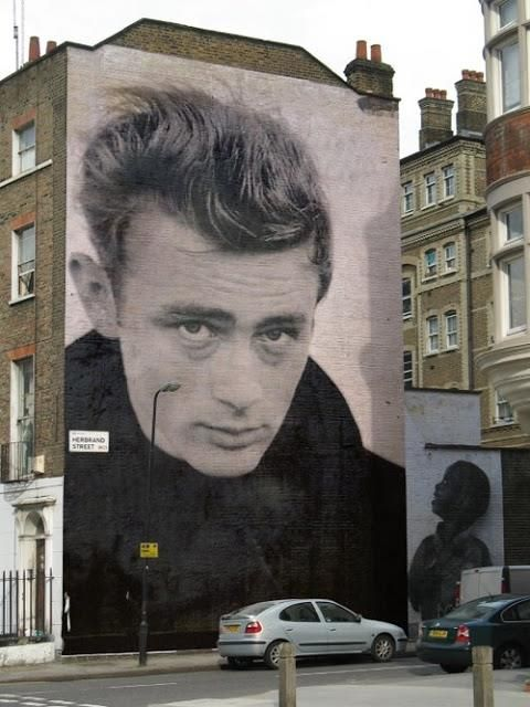 """#streetart about #JamesDean: """"He was very afraid of being hurt. He was afraid of opening up in case it was turned around and used against him."""" - Elizabeth Taylor"""