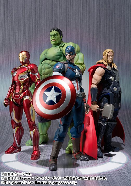 The Figuarts Iron Man Mk. 43 is due out next month, and then there's the Mk. 45 variant due out in August. Captain America and Hulk will be available this coming July, with Thor coming in September. Most of the figures will cost around $52, while the Hulk will cost $80 because its a bigger 9 inch figure.