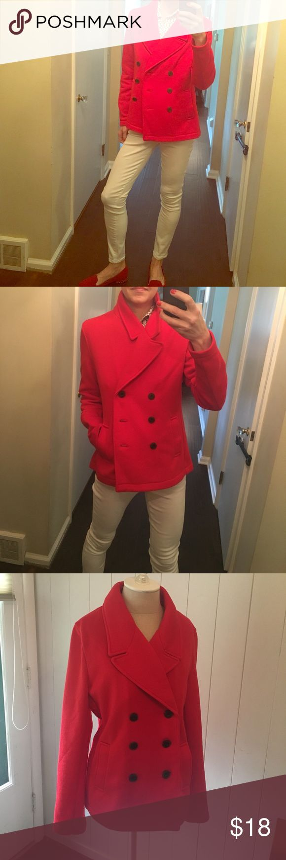 Lightweight Red Pea Coat, size L NWOT Cherry red, sweater/fleece-like material, never worn darling jacket! Old Navy Jackets & Coats Pea Coats