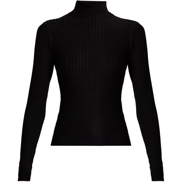 Acne Studios Ida roll-neck ribbed-knit sweater (£285) ❤ liked on Polyvore featuring tops, sweaters, shirts, black, round top, long sleeve sweater, long sleeve stretch top, rollneck sweaters and stretch shirt