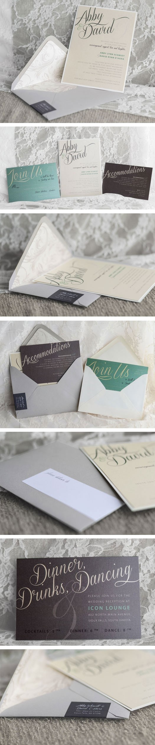 Neutral wedding invitations with seafoam green and chocolate brown accents, also has a wrap-around mailing label. Love these! By Copper Ink Wedding Designs