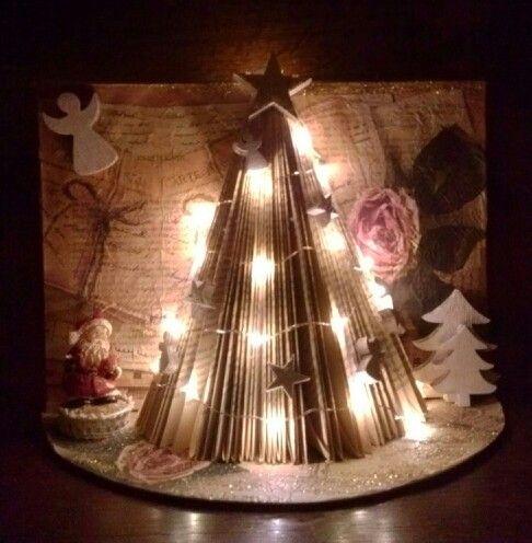 Oud boek, pagina's gevouwen. Aan weerszijde servet geplakt. Een half rond stuk karton eronder, ook met servet beplakt. Ledlampjes erin en verder versieren met wat je leuk vindt.