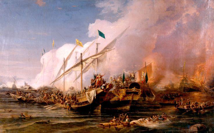 Preveze Deniz Muharebesi*Preveze Deniz Muharebesi  Ressam : Ohannes Umed BEHZAD, 1866  Teknik : Yağlıboya