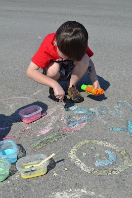 environmentally friendly sidewalk paint.  All you need is 1/4 cup corn starch, 1/4 cold water, and about 8 drops food coloring.