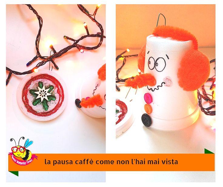 pupazzo di neve con bicchiere di polistirolo e coperchio di plastica glitter decorazione per l'albero di Natale