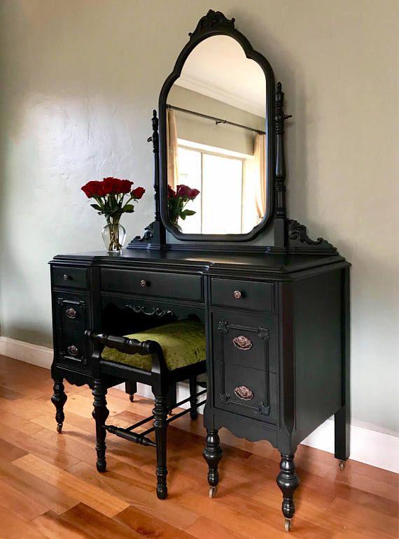 Sample Piece Only Antique Make Up Vanity With Mirror And Seat Black Vanity Makeover Diy Dresser Makeover Vintage Makeup Vanities
