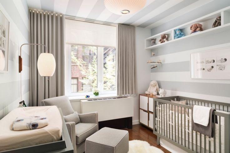 geschlechtsneutrales Kinderzimmer - Streifen an Wand und Decke