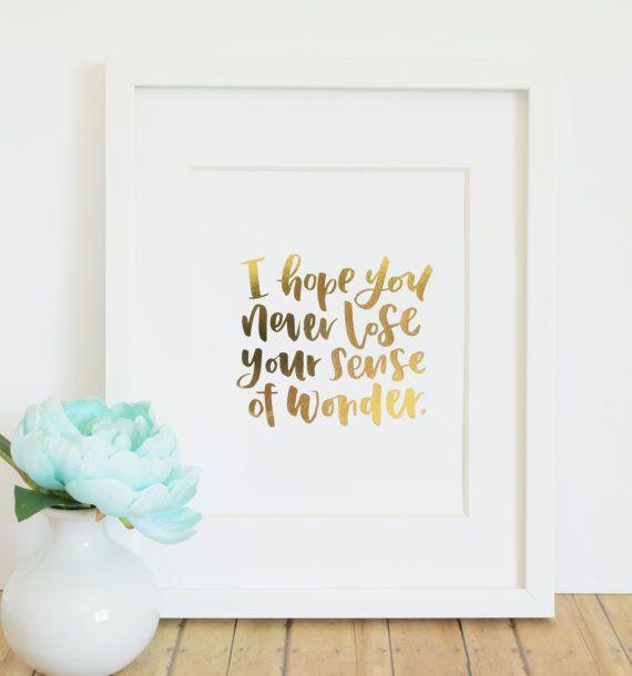 Never Lose Wonder / Real Gold Foil Art Print / Hand Lettered Nursery Decor / Gold Foil Wall Art for Little Girl's Room / 8x10