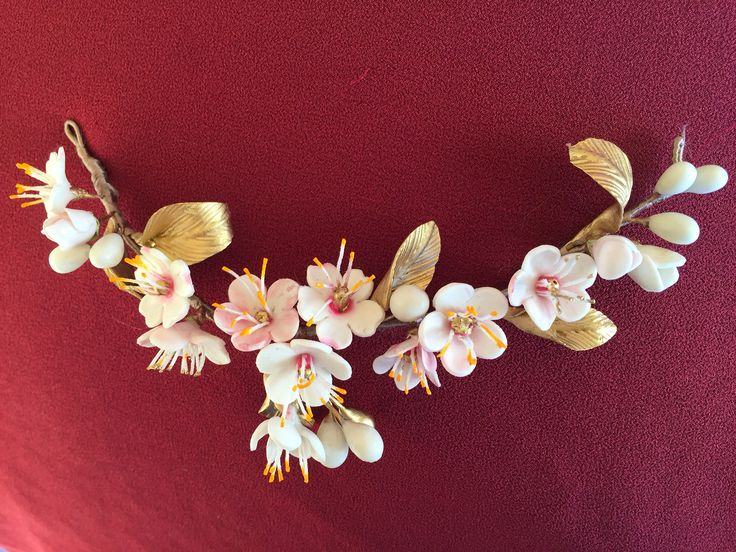 Tocado en porcelana fría  Flor de cerezo Mod: Vera